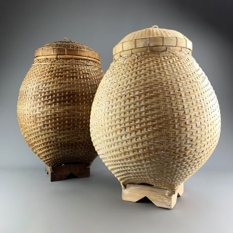 Alibaba Basket, Approx. 65 cm tall by 50 cm diameter. Brown or White Wash hand woven basket