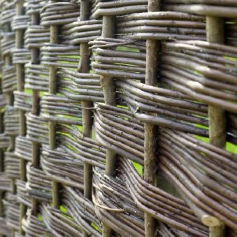 Willow Woven Hurdle, approx. 6' (1.8 m) wide with heights from 3' (1.2 m) to 6' (1.8 m). Craftsman made from coppiced willow