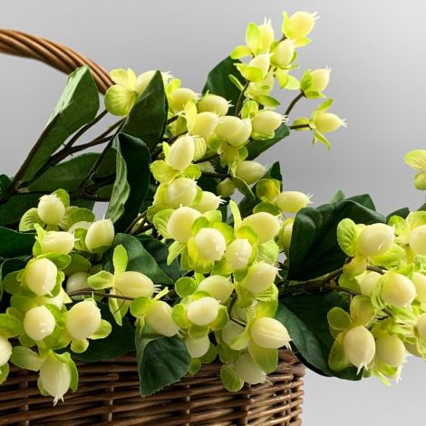 Hypericum Berries, cream 72 cm, artificial foliage, posable stems