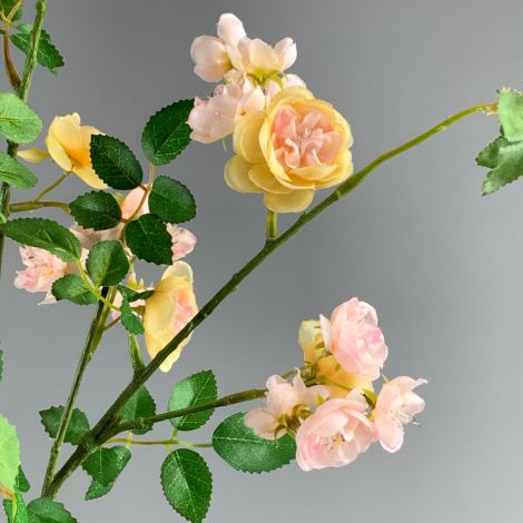Rose, Vintage Bush, 1m tall with pink blooms & foliage, artificial, poseable stems