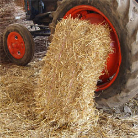 Straw/Hay Bales, approx. 90 cm long by 60 cm wide by 35 cm tall. Natural, dried compressed animal feed or bedding