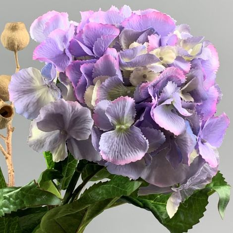 Hydrangea, Lavender 60 cm tall artificial blossom, poseable stem