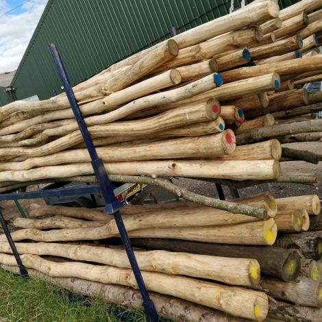 "Rustic Round Poles, Stripped of Bark. Approx. dia. 3, 4, or 6"". 3.6 m length. Grown & logged in the UK"