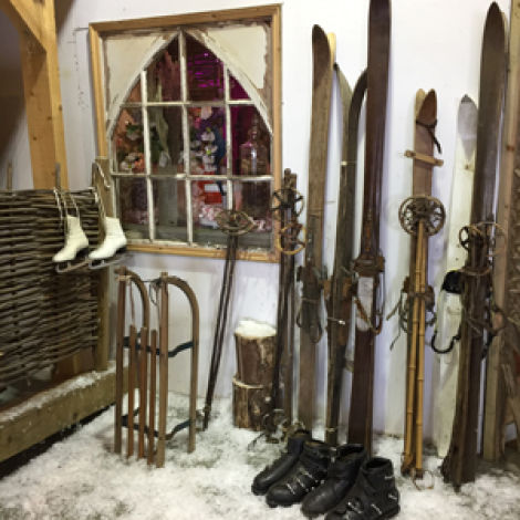 Vintage Wooden Ski's and sticks RENTAL ONLY