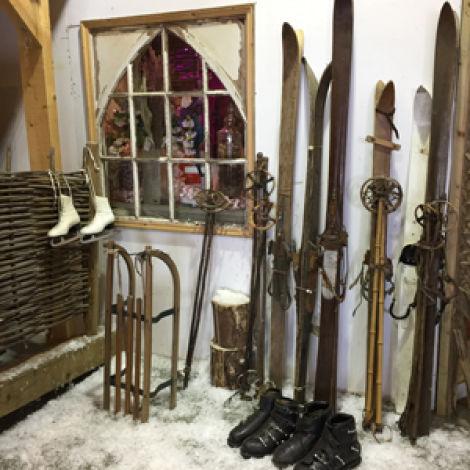 Vintage Wooden Ski's and sticksRENTAL ONLY