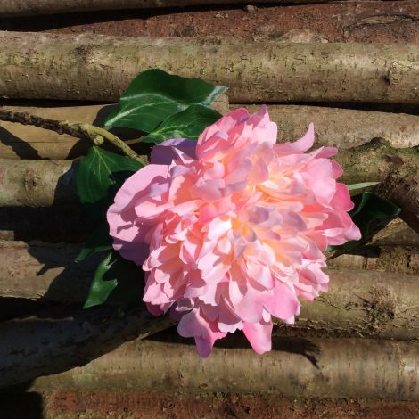 Peony Pink, 60cm tall, artificial bloom, leaves, poseable stem