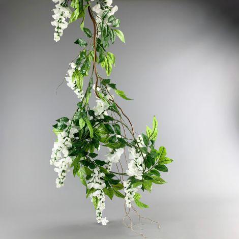 Wisteria Garland, Cream, 2m long artificial blooms, poseable stem