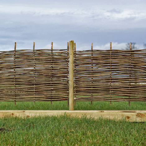 Hazel Hurdle, approx. 6', 1.8 m wide with heights from 1' (300 mm) to 6' (1.8 m). Craftsman made from coppiced hazel