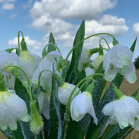 Snowdrops Frosted Bunch, 36 cm artificial flowers