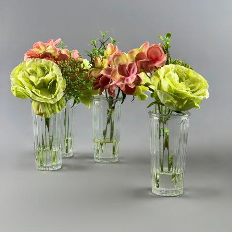 Flowers in Thin Vase, Green Rose Arrangement, 23 cm artificial flower & foliage decor. Set of 4