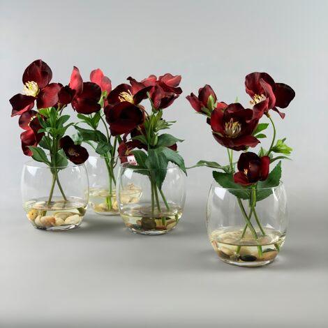 Flowers in Pebble Vase, Red Arrangement,23 cm artificial flower & foliage decor