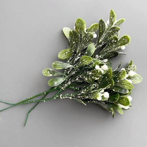 Mistletoe Frosted Sprig, 27 cm artificial leaves and berries