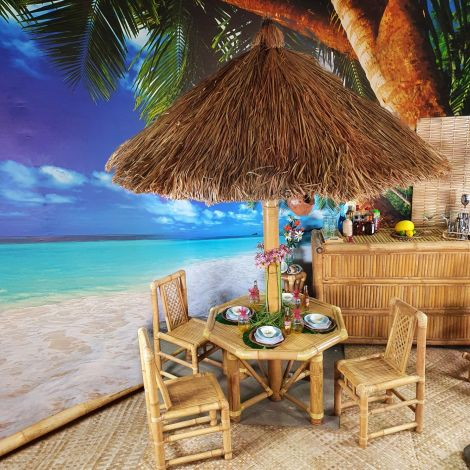 Beach Bar- Bamboo Bar, Thatched Table, chairs, Stools and Parasols Rental Only