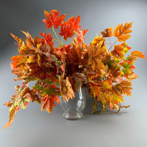 Maple Autumn Tree Leaves, 50 cm of artificial twig with minimum 6 leaves. Set of 20 mixed stems.