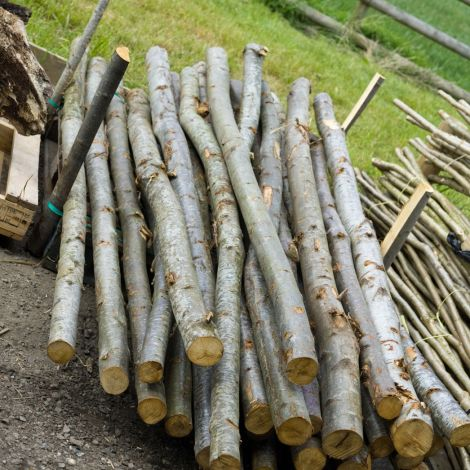 """Rustic Round Poles With Bark. Approx. dia. 3, 4, or 6"""". 3.6 m length. Grown & logged in the UK"""