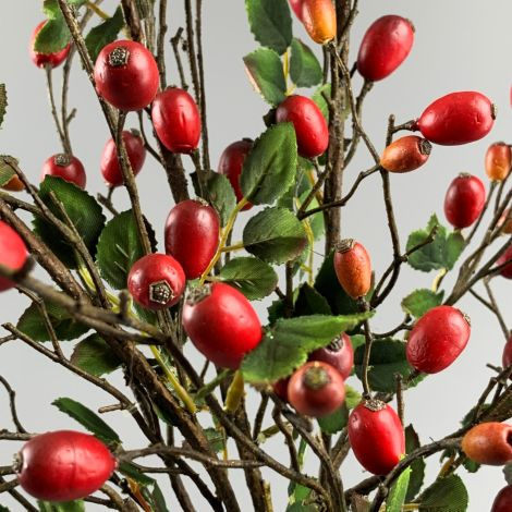 Rose Hip Branch, 85cm artificial berries and foliage, posable stem