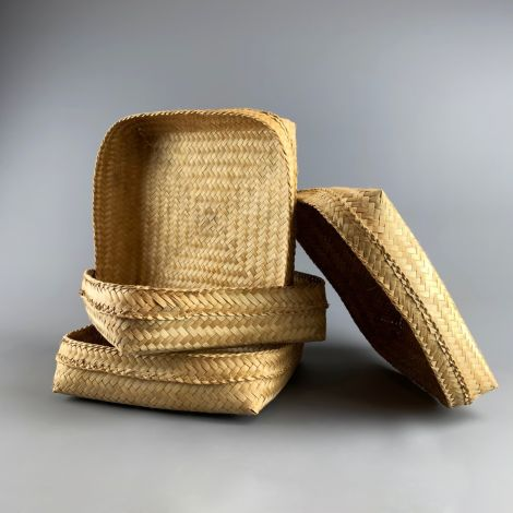 Bamboo Square Platter/Basket, approx. 40 cm square by 7 cm deep, hand woven