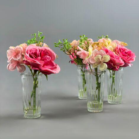 Flowers in Thin Vase, Pink Rose Arrangement, 23 cm artificial flower & foliage decor. Set of 4.