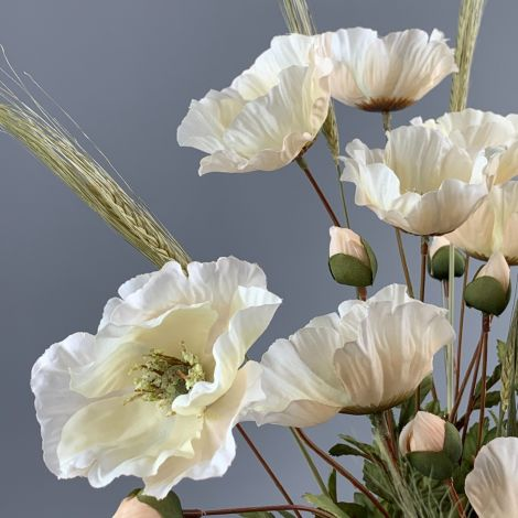 Poppy Bunch, Cream,74 cm flower & foliage, artificial, poseable stem
