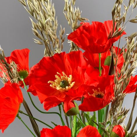 Poppy Bunch, Red,74 cm flower & foliage
