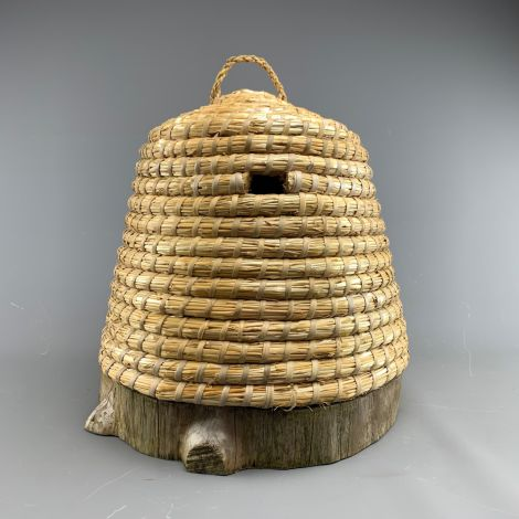 "Straw Bee Skep, approx. 16""(42 cm) diameter x 13"" ( 33 cm) high plus handle and cut out bee door"