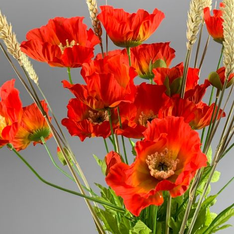 Poppy Bunch, Orange,74 cm artificial flower & foliage