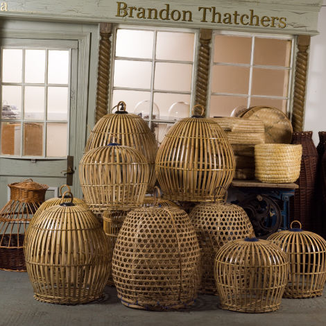 "Oriental Bamboo Bird Cage, approx. 32"", 82 cm tall by 25"", 65 cm diameter. Hand woven and authentic with handle and removable base"