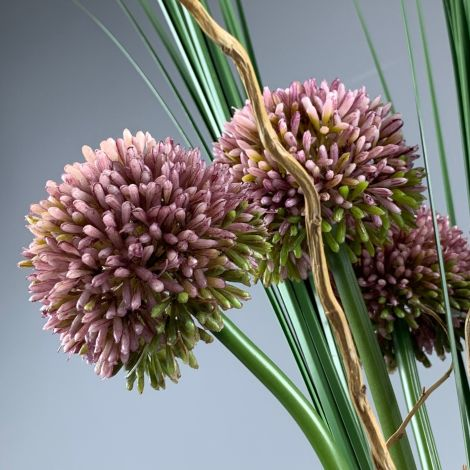 Allium, Hedgerow, Pink 55cm tall artificial bloom with poseable wired stem