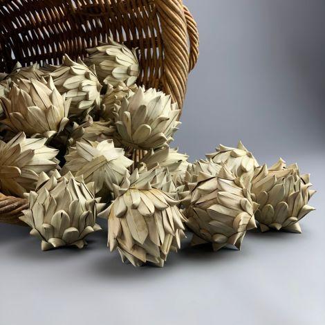Date Artichoke x 3, 8 cm diameter, Natural Floral Deco