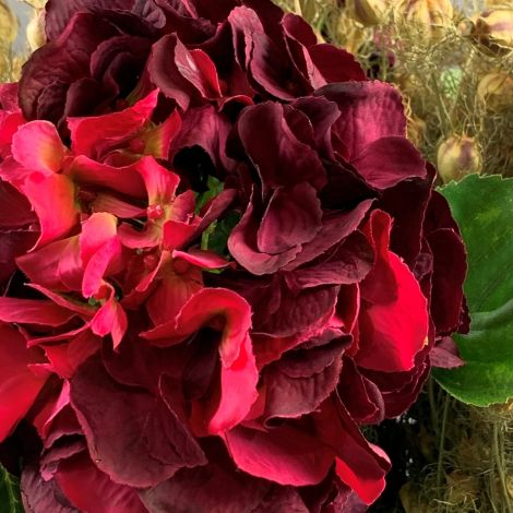 Hydrangea, Plum, 70 cm tall artificial blossom, poseable stem
