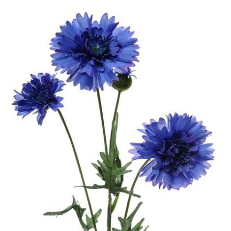 Cornflower Blue 65cm long artificial bloom, with poseable wire stem