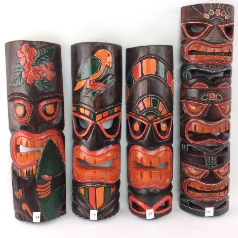 Tiki Mask, 2Heads - 40 cm. Hand Carved & Painted. Fair Trade, Sustainable and Ethical