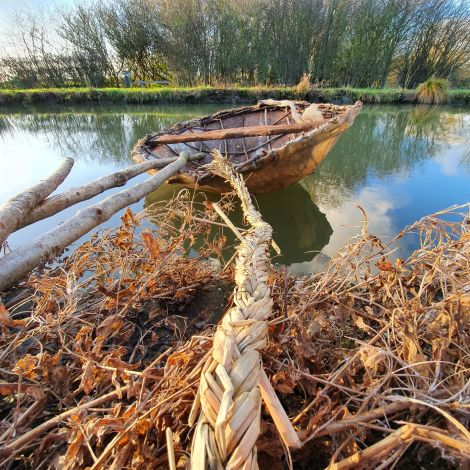 Medieval River Settlement – 2 Coracles, 2x Fish Traps, 1 x Eel Trap, Rustic Net and Rush Rope Hank. Rental Only