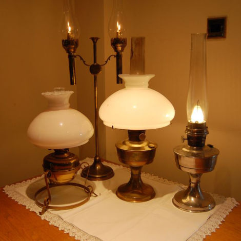 6 x Victorian / Edwardian Candle and Oil Lamps including a Candelier RENTAL ONLY