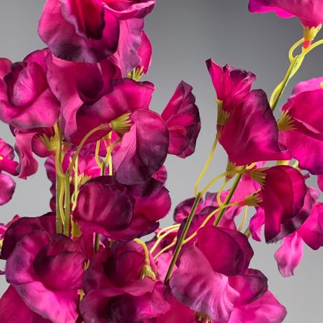 Sweat Pea, Plum, approx. 47 cm tall with 12 flowers 6cm dia. Artificial bloom with posable wired stem