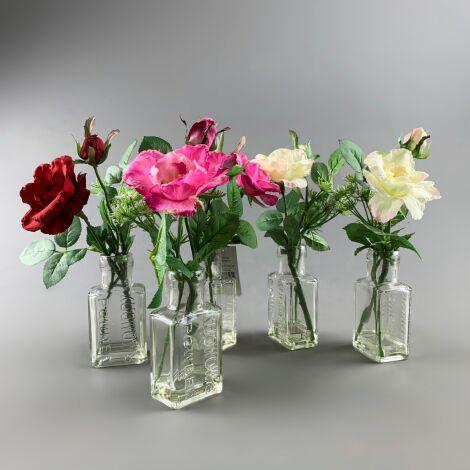 Flowers in Chemist Bottle, Wild Roses Arrangement, 25 cm artificial flower & foliage decor. Set of 5