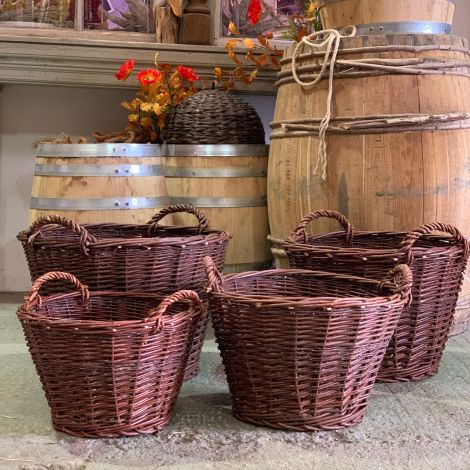 13 x Produce Baskets With Handles. RENTAL ONLY, approx. 40 to 60 cm dia. by 25 to 55 cm tall