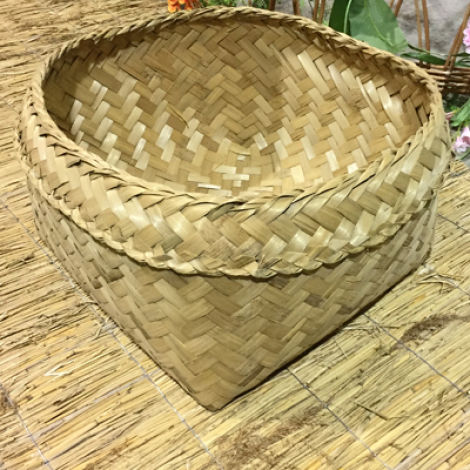 Square Bamboo Fruit Basket, approx. 45 cm square by 25 cm deep, hand woven