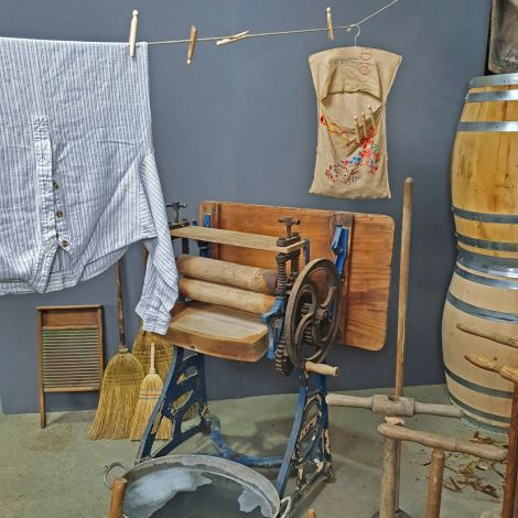 Vintage Laundry- Mangle, Dollies, Galvanised Wash Tubs, Baskets, Pegs and Line / Prop. Rental Only