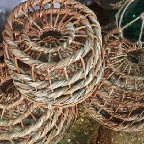 "Lobster Pots, vintage style, approx. 12"" or 18"" diameter. Removable base with 'throat'"