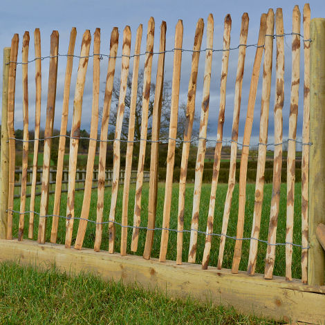 Chestnut Pale Fence Roll, approx. 5 m wide by 1.2 m high width wire binders. Natural festival/event fencing/barriers