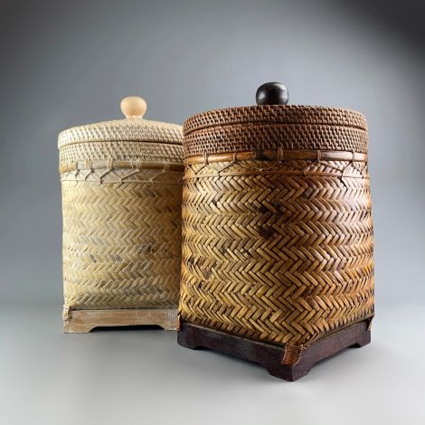 Tea Caddy Baskets, approx 40 cm tall x 33 cm square. 6 Available RENTAL ONLY