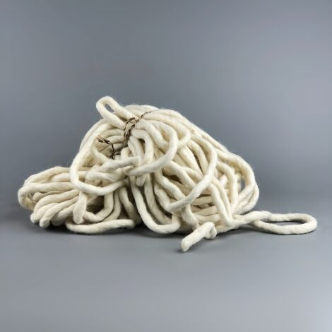 Wool Rope, Natural Off White x 20 m by 12 mm diameter, natural hand crafted rope hank.
