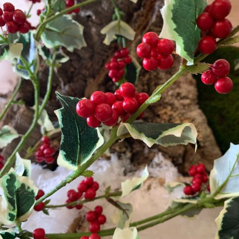 Holly Sprig Variegated, 92 cm of artificial berries & leaves
