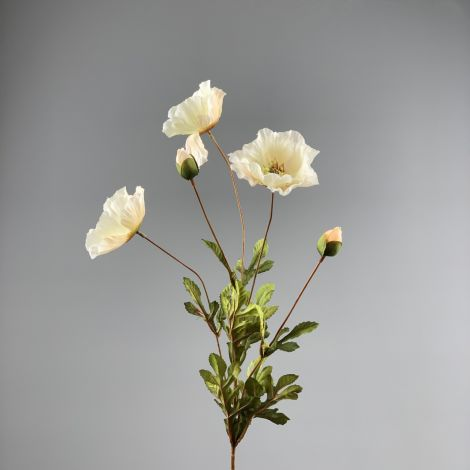 Poppy Bunch, Cream,74 cm flower & foliage, artificial, poseable stem