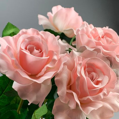 Rose, Soft Pink, 69 cm tall, artificial flower and foliage, poseable stem