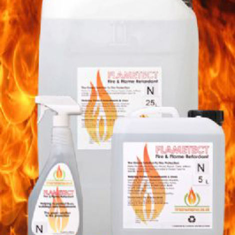 Fire Retardant, suitable for organic materials. Skin friendly. UV and  water resistant for outdoor use. Spray, paint or dip application.