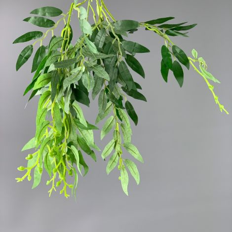 Wisteria Leaf Spray, approx. 50 cm long with 70 cm spread & 100 leaves on 5 stems, artificial