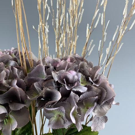 Hydrangea, Grey, 70 cm tall artificial blossom, poseable stem