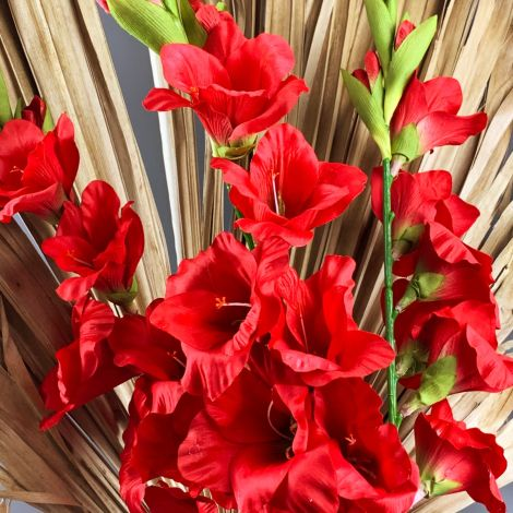 Gladiola, Red 96 cm tall artificial bloom on poseable wire stem